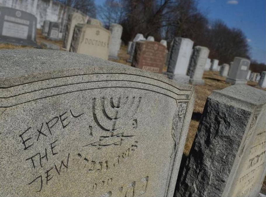 Photo of anti-Semitic graffiti in Fall River cemetery. (Photo: Herald-News: Jack Foley)