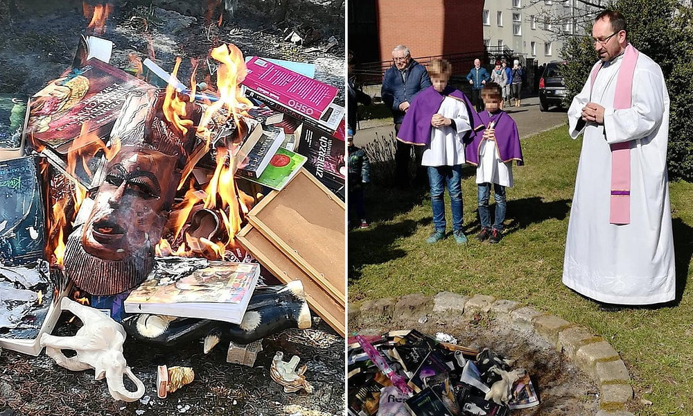 Pictures from the group's Facebook post show them gathering items and lighting them on fire while praying.