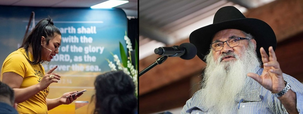 On the left: Ana Makahununiu, a pentecostal preacher who lived in the Kimberley for three years. (ABC News: Scott Mitchell). On the right: Pat Dodson has said the destruction of Aboriginal cultural objects and sites is an act of bastardry.