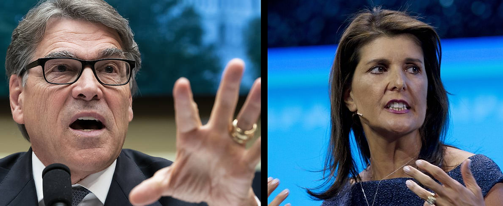 Rick Perry on the left (Las Vegas Review) and Nikki Haley on the right (Washington Times).