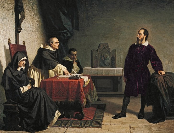 Galileo defending himself against members of the clergy.