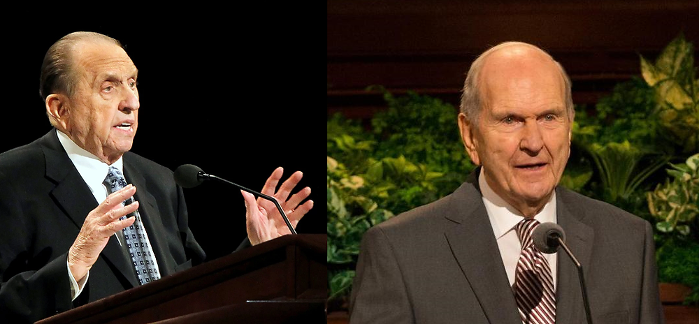 Former Mormon Church President Thomas Monson on the left, and current President Russell Nelson on the right.