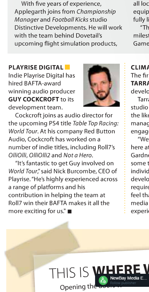 Award-Winning Audio Producer Guy Cockcroft Joins Playrise Digital's Development Team On 'Tab