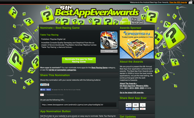 Vote for Table Top Racing in Best App Ever Awards!!