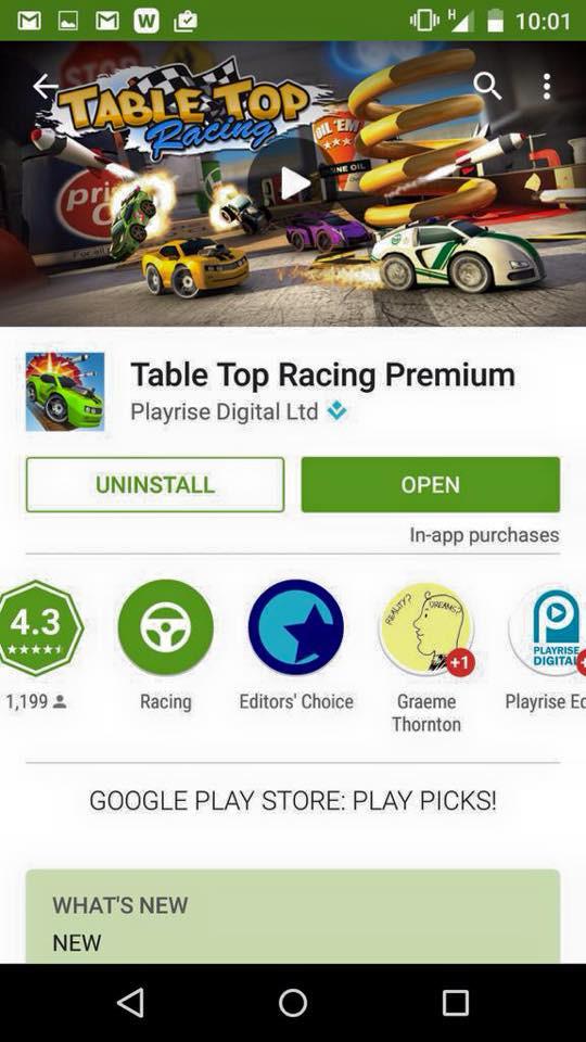Table Top Racing snags Editors Choice Award on Google Play!