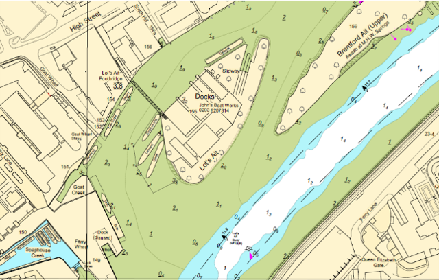 Hydrographoc survey of Brentford Reach, including Lot's Ait and Brentford Ait
