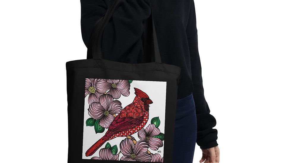 Zentangled Cardinal Eco Tote Bag