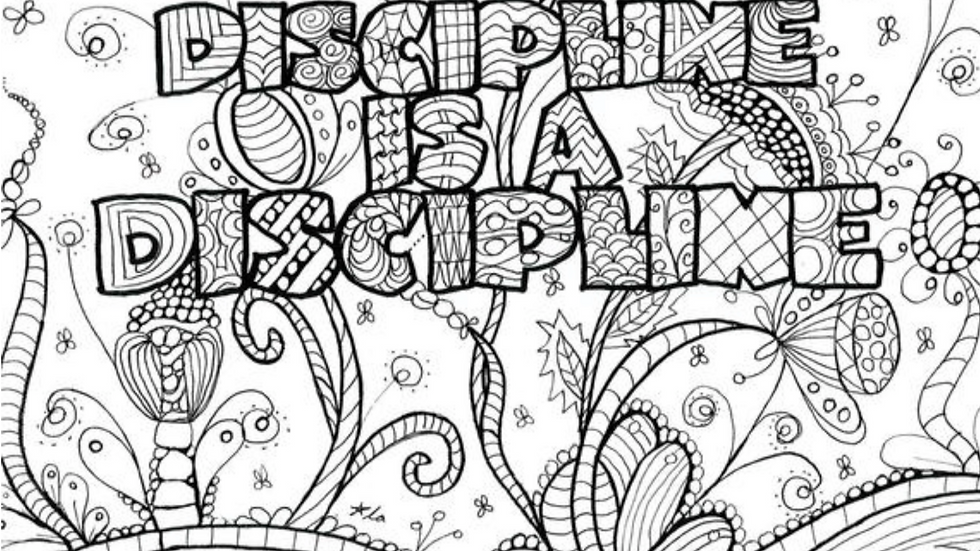 Zentangle Coloring Sheet - Discipline is a Discipline