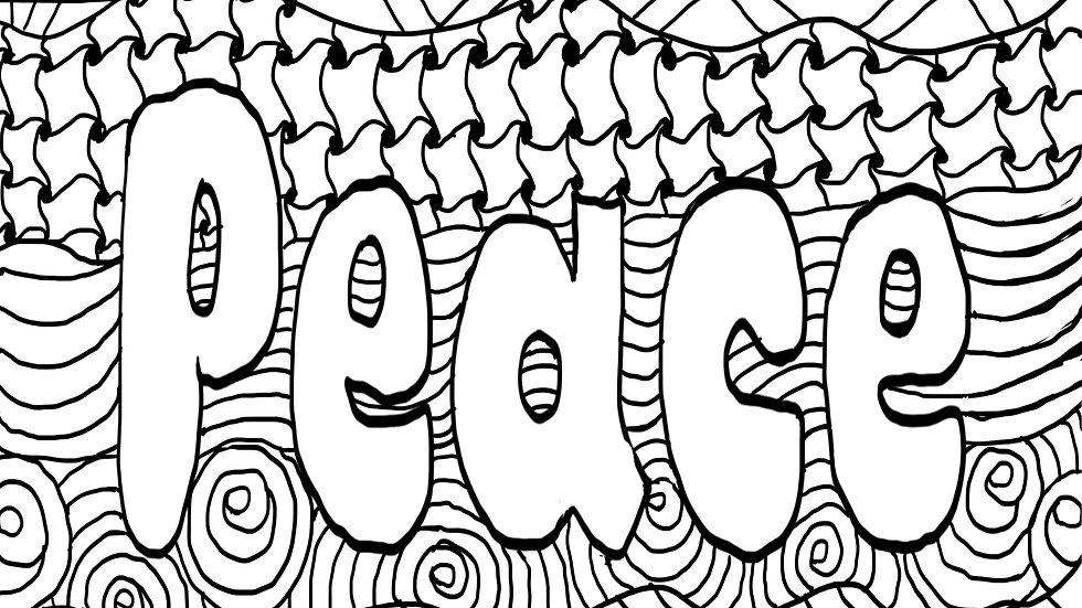 Zentangle Coloring Sheet - Peace