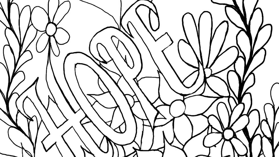Zentangle Coloring Sheet - Hope