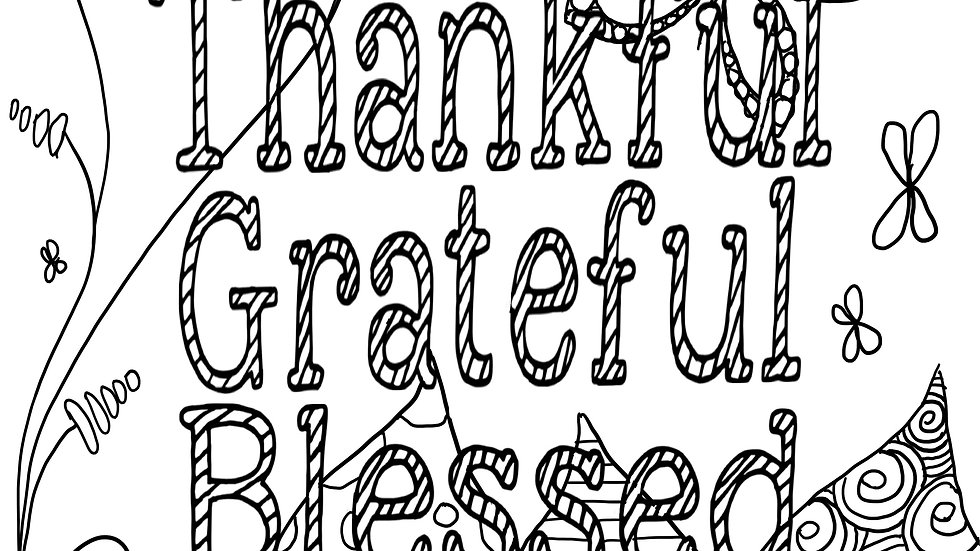 Zentangle ColoringSheet - Thankful Grateful Blessed