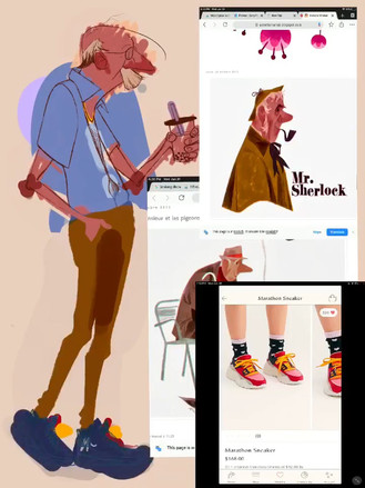 I also looked up reference from the artist Annette Marnat,  I thought I could try utilizing some of the ways she used texture and color. I also looked up these pair of shoes I had really liked and thought it would be fun to try utilizing some of the color designs they have present in these shoes from Free People.