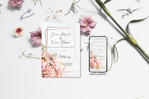 Invitation Mariage Marble and Flowers