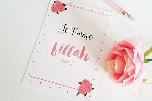 """Carte """"Je t'aime fillah"""""""