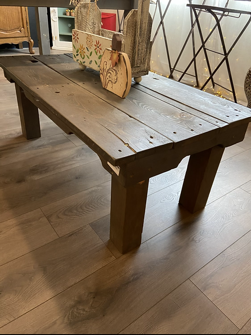 Rustic weathered gray coffee table