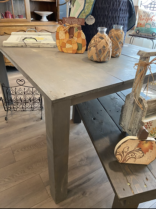 Weathered gray dining table or desk