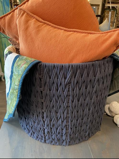 Blue gray woven storage basket