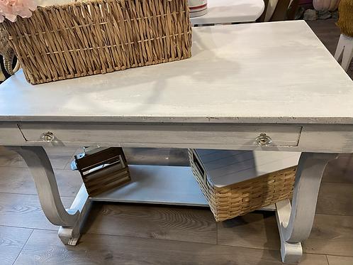 Rustic white Dixie Belle Silk painted desk
