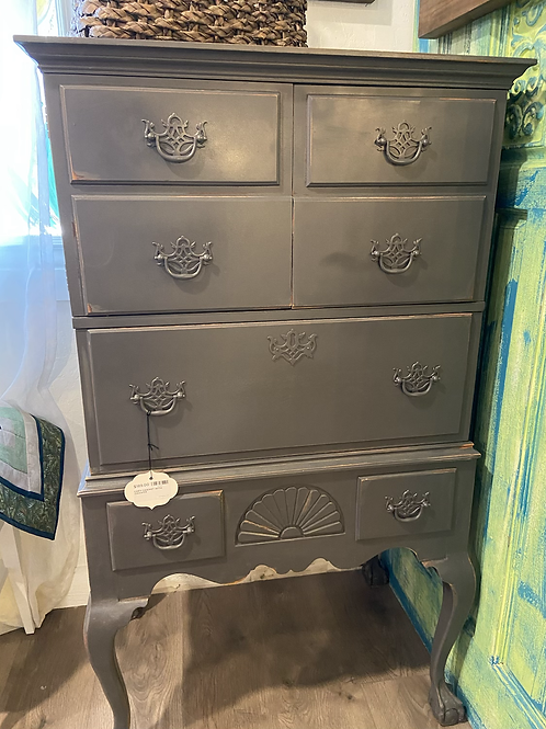 Distressed gray cabinet