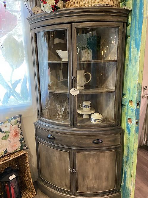 Bassett antiqued gray corner hutch