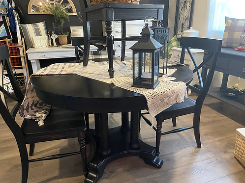 Black dining set with four chairs