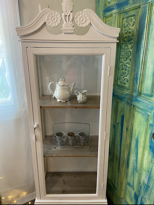 White curio with reclaimed wood shelves