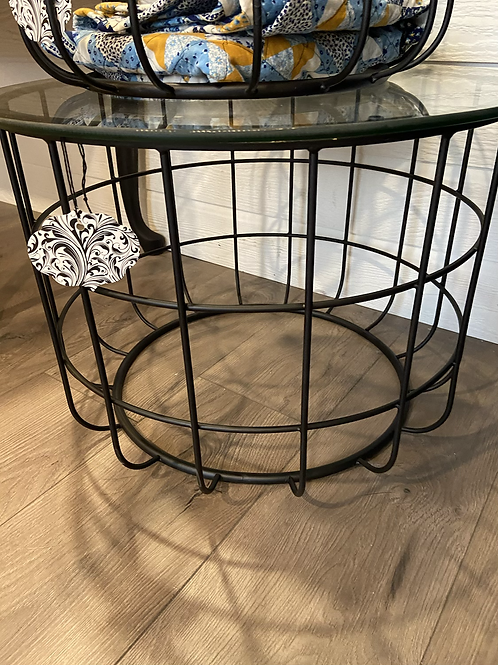 Large iron table with glass top