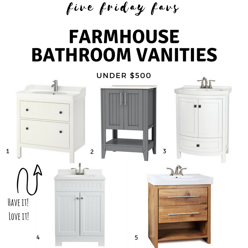 Bathroom Vanity Under $500 farmhouse bathroom vanities - under $500 | five friday favs
