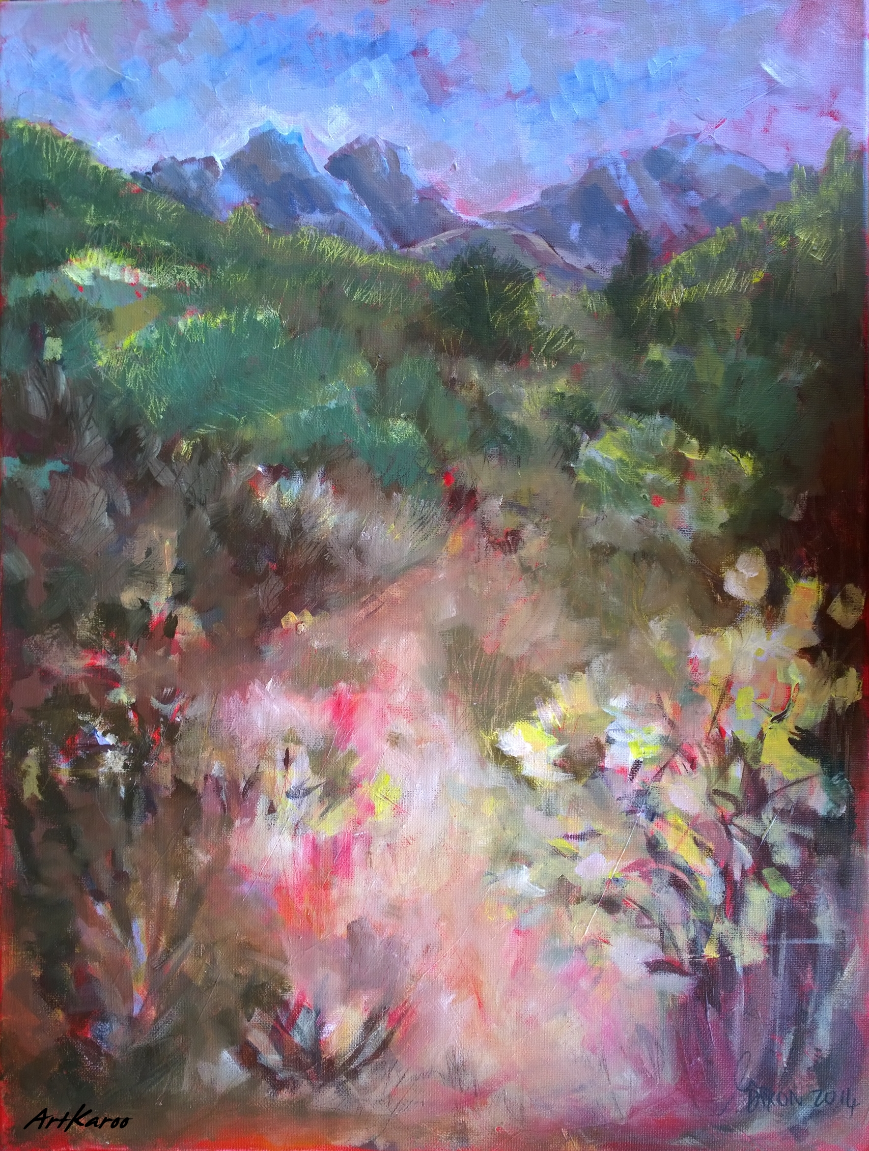 Janet Dixon, Veld in Flower, Oil on Canvas, 61x55cm, 5648