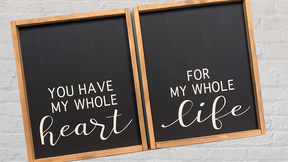Heart and Life Bedroom Sign Set