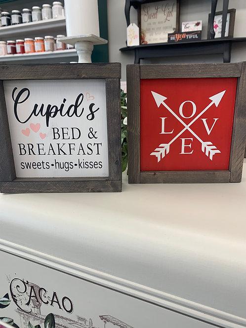 Valentine 7x7 wood sign framed