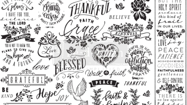 Re-Design Decoupage Paper  -THANKFUL & BLESSED