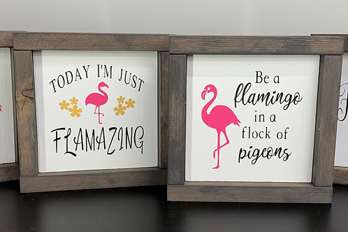 Flamingo Signs - Set of 4