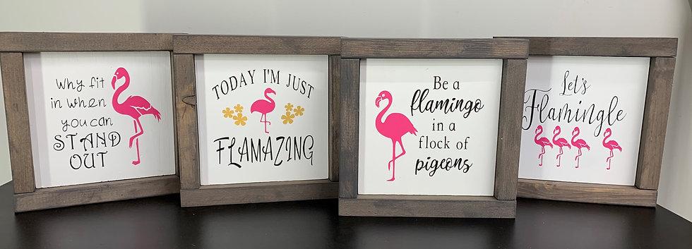 Flamingo Signs - Set of 4