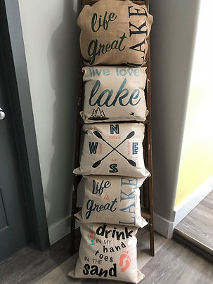 Stenciled Pillows painted with Fusion Mineral Pait