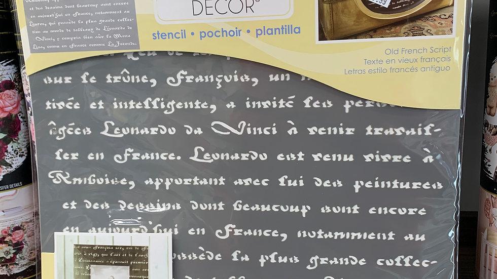"DecoArt 12"" Stencil -Old French Script"