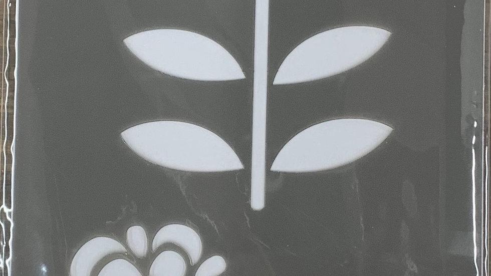 """DecoArt 6""""x18"""" Stencil -Folk Flowers"""