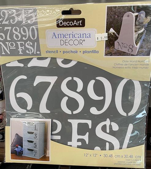 """DecoArt 12"""" Stencil -Old World Numbers"""