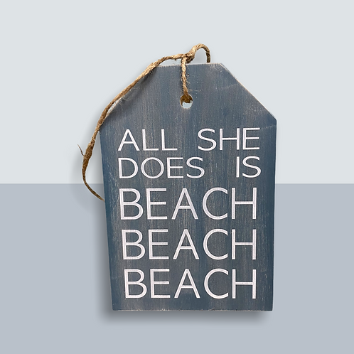 She Beaches Large Door Tag