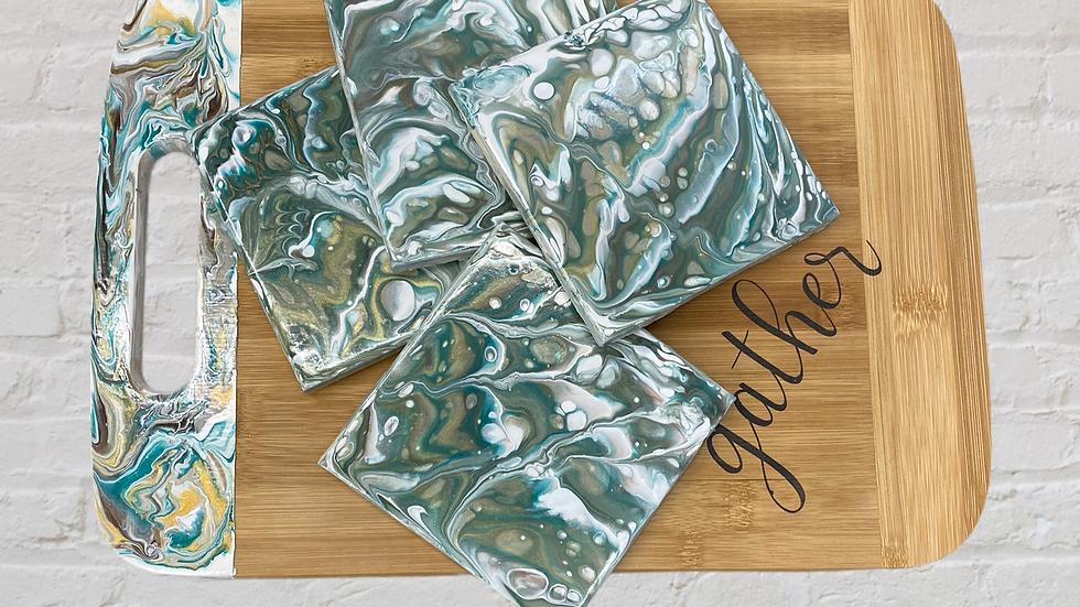 Cutting Board And Coaster Set - Green