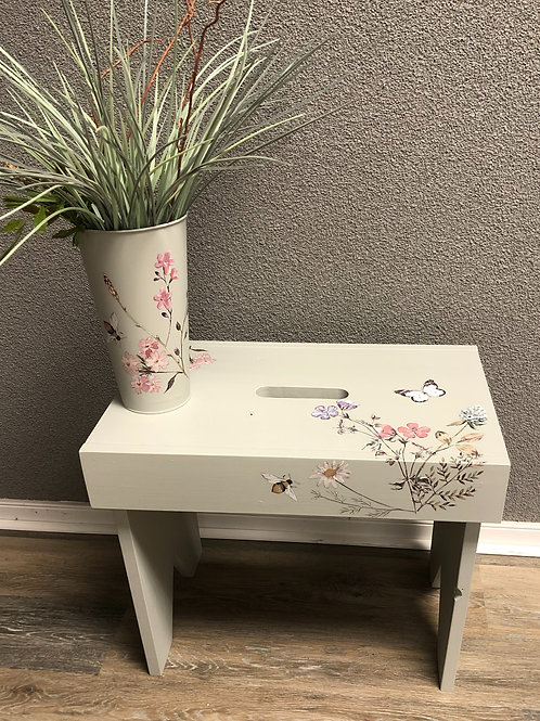 Decorative Bench and Metal Container