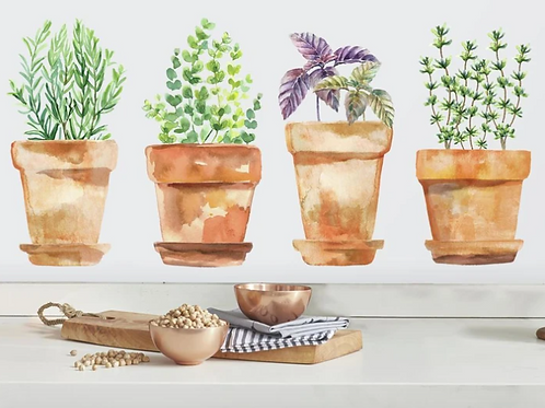 Watercolor Potted Herbs