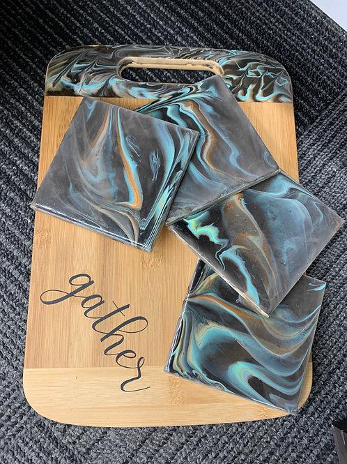 Cutting Board And Coaster Set - Black