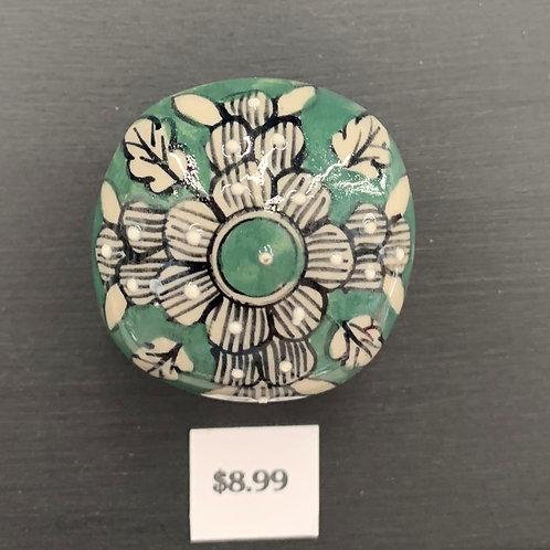Grey Green Leaf Ceramic Knob