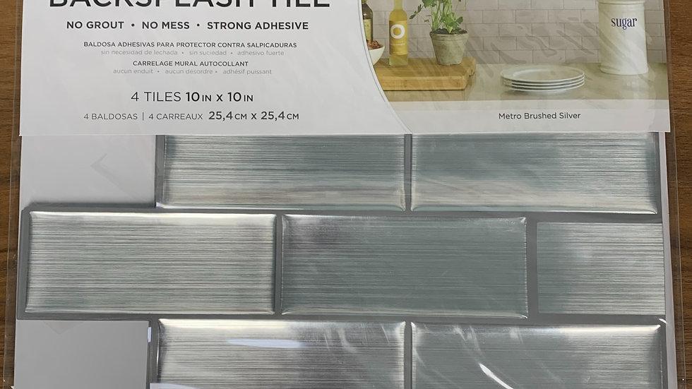 InHome Metro Brushed Silver Peel & Stick Backsplash Tiles