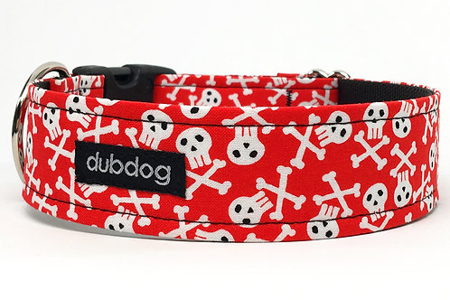 Novelty skull & crossbones handmade dog collar Bonehead