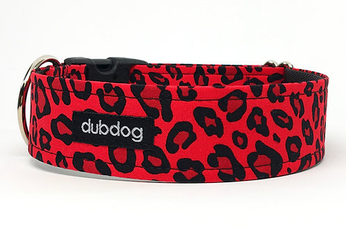 Novelty red & black animal print handmade dog collar Wild Thing