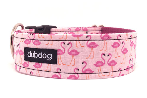 Novelty pink flamingos handmade dog collar