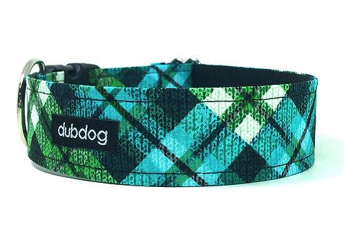 Modern teal blue green & black plaid handmade dog collar Max