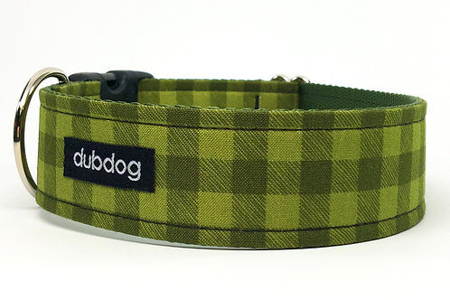 Classic olive green check handmade dog collar Frontier